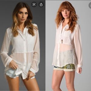 Free People Ivory/Blush Best of Both Worlds Top L